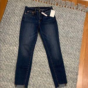 "J Crew 9"" high rise toothpick jeans denim step hem"